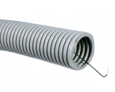 ДКС Труба ПВХ гибкая гофр. д.40мм, лёгкая с протяжкой, 20м, цвет серый
